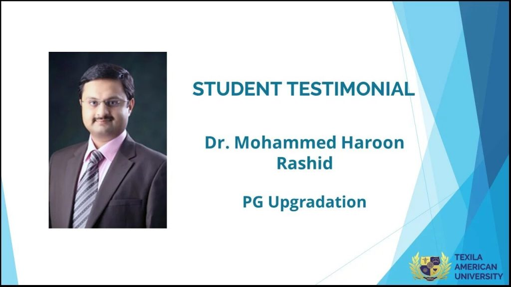 Mohammed success student of pg course